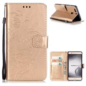 Embossing Butterfly Flower Leather Wallet Case for Huawei P9 Plus P9plus - Champagne