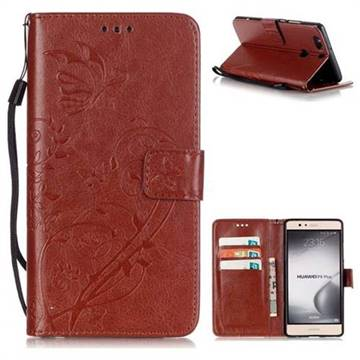 Embossing Butterfly Flower Leather Wallet Case for Huawei P9 Plus P9plus - Brown