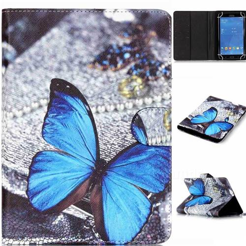 8 inch Universal Tablet Flip Cover Folio Stand Leather Wallet Case - Blue Butterfly