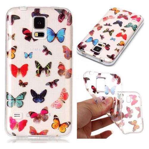 Colorful Butterfly Super Clear Soft TPU Back Cover for Samsung Galaxy S5 G900