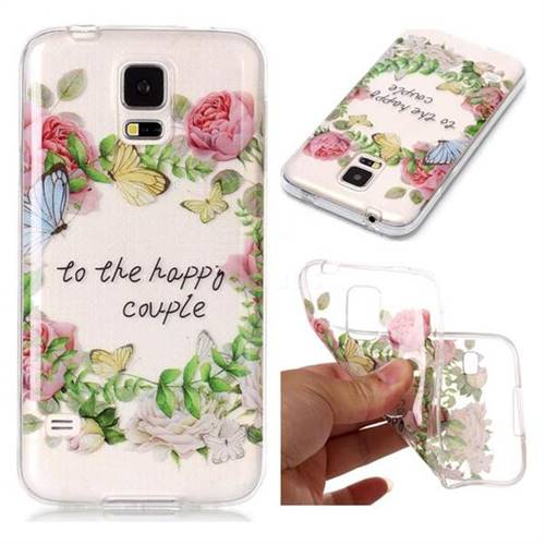 Green Leaf Rose Super Clear Soft TPU Back Cover for Samsung Galaxy S5 G900