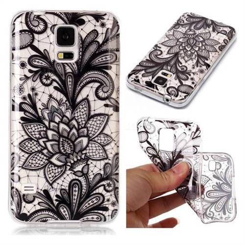 Black Rose Super Clear Soft TPU Back Cover for Samsung Galaxy S5 G900