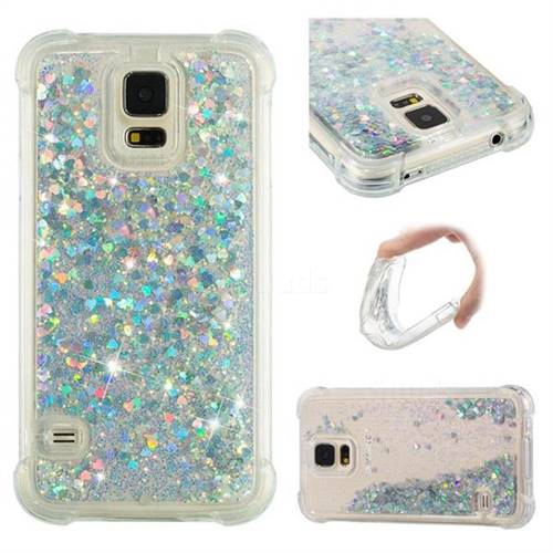 Dynamic Liquid Glitter Sand Quicksand Star TPU Case for Samsung Galaxy S5 G900 - Silver
