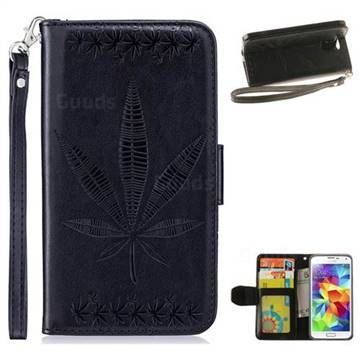 Intricate Embossing Maple Leather Wallet Case for Samsung Galaxy S5 G900 - Black