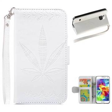 Intricate Embossing Maple Leather Wallet Case for Samsung Galaxy S5 G900 - White