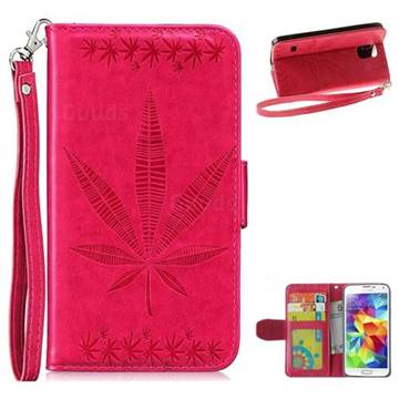 Intricate Embossing Maple Leather Wallet Case for Samsung Galaxy S5 G900 - Rose
