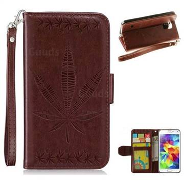 Intricate Embossing Maple Leather Wallet Case for Samsung Galaxy S5 G900 - Brown