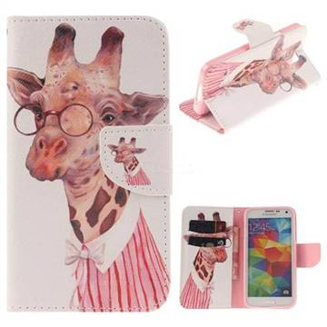 Pink Giraffe PU Leather Wallet Case for Samsung Galaxy S5 Mini G800