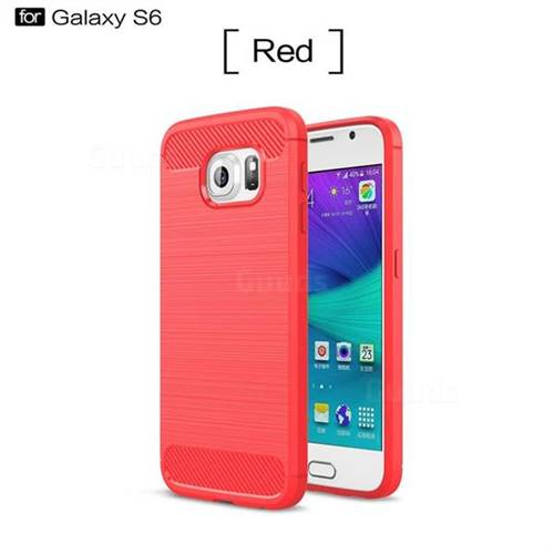 Luxury Carbon Fiber Brushed Wire Drawing Silicone TPU Back Cover for Samsung Galaxy S6 G920 (Red)