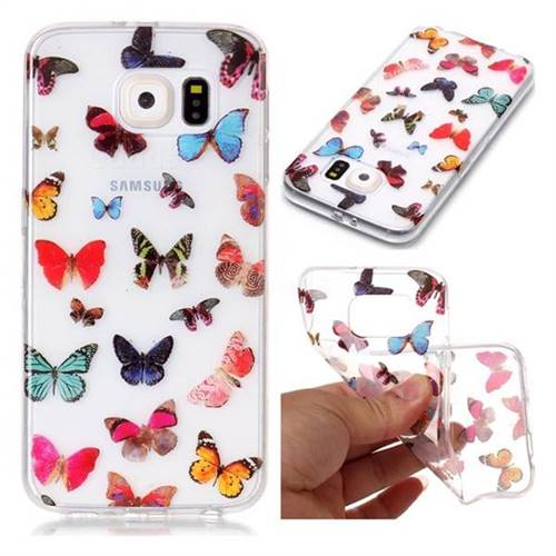 Colorful Butterfly Super Clear Soft TPU Back Cover for Samsung Galaxy S6 G920