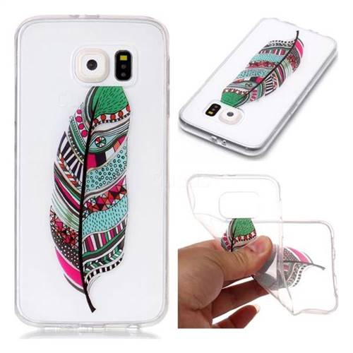 Green Feathers Super Clear Soft TPU Back Cover for Samsung Galaxy S6 G920