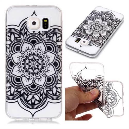 Black Mandala Flower Super Clear Soft TPU Back Cover for Samsung Galaxy S6 G920