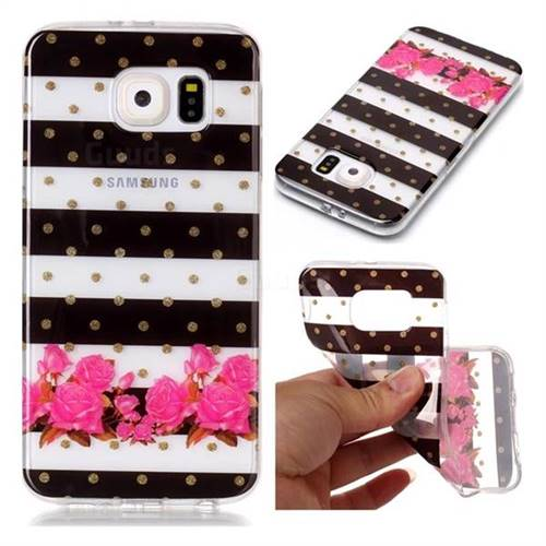 Striped Flowers Super Clear Soft TPU Back Cover for Samsung Galaxy S6 G920