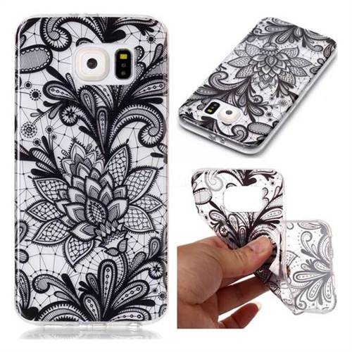 Black Rose Super Clear Soft TPU Back Cover for Samsung Galaxy S6 G920