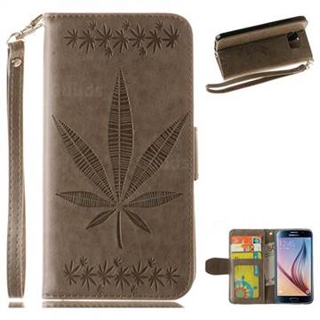 Intricate Embossing Maple Leather Wallet Case for Samsung Galaxy S6 G920 - Gray