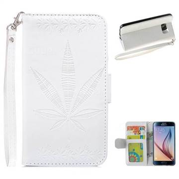 Intricate Embossing Maple Leather Wallet Case for Samsung Galaxy S6 G920 - White