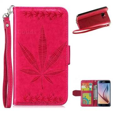 Intricate Embossing Maple Leather Wallet Case for Samsung Galaxy S6 G920 - Rose