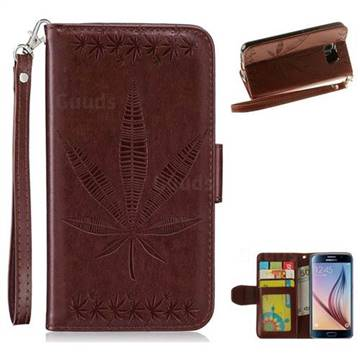 Intricate Embossing Maple Leather Wallet Case for Samsung Galaxy S6 G920 - Brown