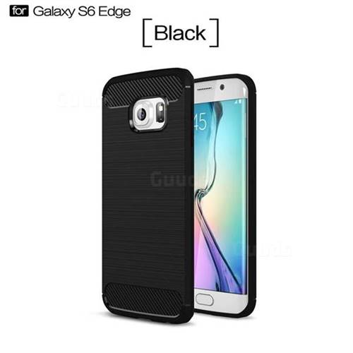 Luxury Carbon Fiber Brushed Wire Drawing Silicone TPU Back Cover for Samsung Galaxy S6 Edge G925 (Black)