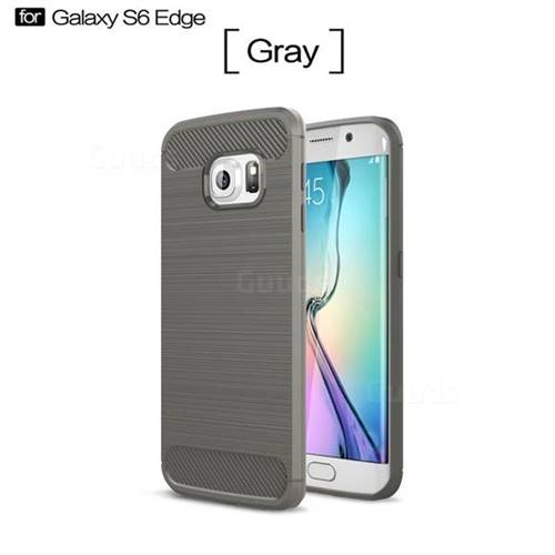 Luxury Carbon Fiber Brushed Wire Drawing Silicone TPU Back Cover for Samsung Galaxy S6 Edge G925 (Gray)
