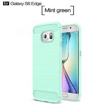 Luxury Carbon Fiber Brushed Wire Drawing Silicone TPU Back Cover for Samsung Galaxy S6 Edge G925 (Mint Green)