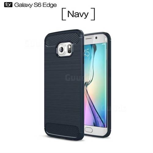 Luxury Carbon Fiber Brushed Wire Drawing Silicone TPU Back Cover for Samsung Galaxy S6 Edge G925 (Navy)