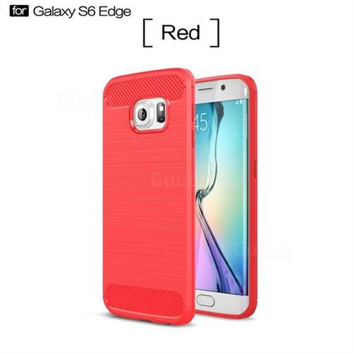 Luxury Carbon Fiber Brushed Wire Drawing Silicone TPU Back Cover for Samsung Galaxy S6 Edge G925 (Red)