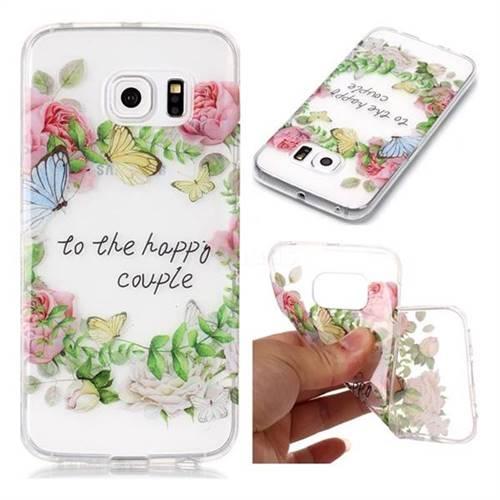Green Leaf Rose Super Clear Soft TPU Back Cover for Samsung Galaxy S6 Edge G925