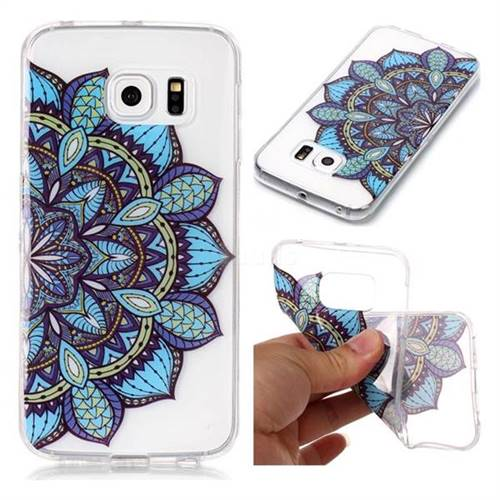 Peacock flower Super Clear Soft TPU Back Cover for Samsung Galaxy S6 Edge G925