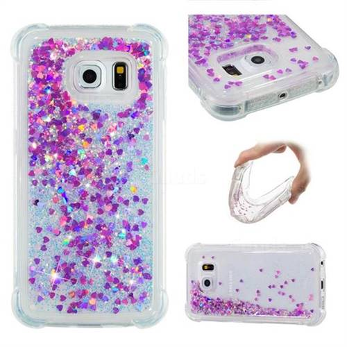 Dynamic Liquid Glitter Sand Quicksand Star TPU Case for Samsung Galaxy S6 Edge G925 - Rose
