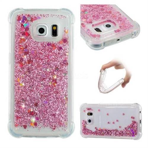Dynamic Liquid Glitter Sand Quicksand Star TPU Case for Samsung Galaxy S6 Edge G925 - Diamond Rose