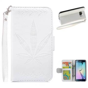 Intricate Embossing Maple Leather Wallet Case for Samsung Galaxy S6 Edge G925 - White