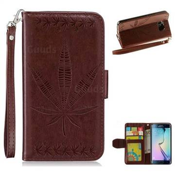 Intricate Embossing Maple Leather Wallet Case for Samsung Galaxy S6 Edge G925 - Brown