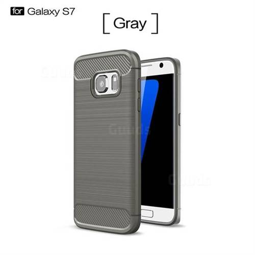 Luxury Carbon Fiber Brushed Wire Drawing Silicone TPU Back Cover for Samsung Galaxy S7 G930 (Gray)