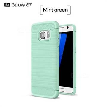 Luxury Carbon Fiber Brushed Wire Drawing Silicone TPU Back Cover for Samsung Galaxy S7 G930 (Mint Green)