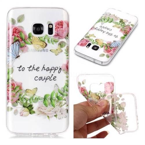 Green Leaf Rose Super Clear Soft TPU Back Cover for Samsung Galaxy S7 G930