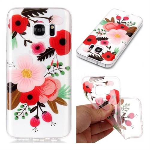 Painting Flowers Super Clear Soft TPU Back Cover for Samsung Galaxy S7 G930