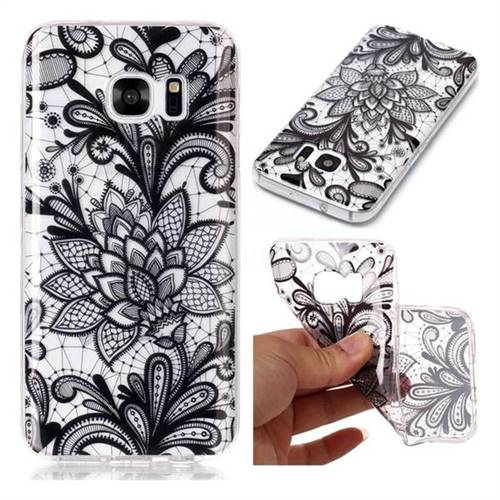 Black Rose Super Clear Soft TPU Back Cover for Samsung Galaxy S7 G930