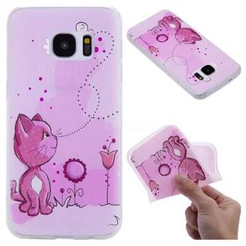 Cat and Bee 3D Relief Matte Soft TPU Back Cover for Samsung Galaxy S7 G930