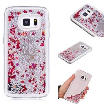 Glitter Sand Mirror Quicksand Dynamic Liquid Star TPU Case for Samsung Galaxy S7 G930 - Red