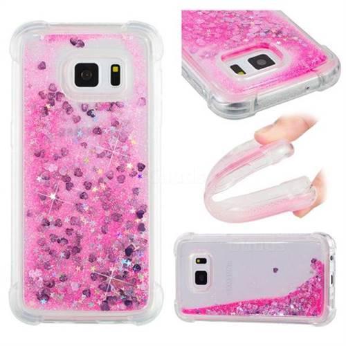 Dynamic Liquid Glitter Sand Quicksand TPU Case for Samsung Galaxy S7 G930 - Pink Love Heart