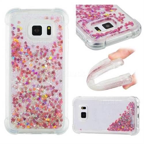 Dynamic Liquid Glitter Sand Quicksand TPU Case for Samsung Galaxy S7 G930 - Rose Gold Love Heart