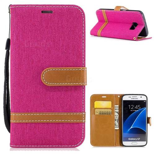 Jeans Cowboy Denim Leather Wallet Case for Samsung Galaxy S7 G930 - Rose