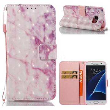 Pink Marble 3D Painted Leather Wallet Case for Samsung Galaxy S7 G930