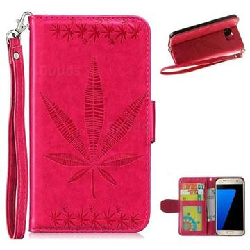 Intricate Embossing Maple Leather Wallet Case for Samsung Galaxy S7 G930 - Rose