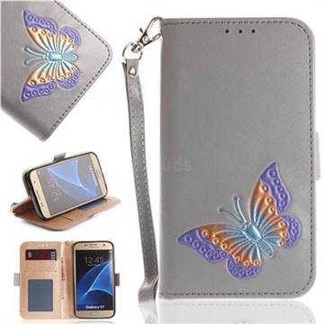 Imprint Embossing Butterfly Leather Wallet Case for Samsung Galaxy S7 G930 - Grey