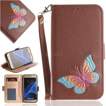 Imprint Embossing Butterfly Leather Wallet Case for Samsung Galaxy S7 G930 - Brown