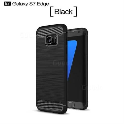 Luxury Carbon Fiber Brushed Wire Drawing Silicone TPU Back Cover for Samsung Galaxy S7 Edge s7edge (Black)