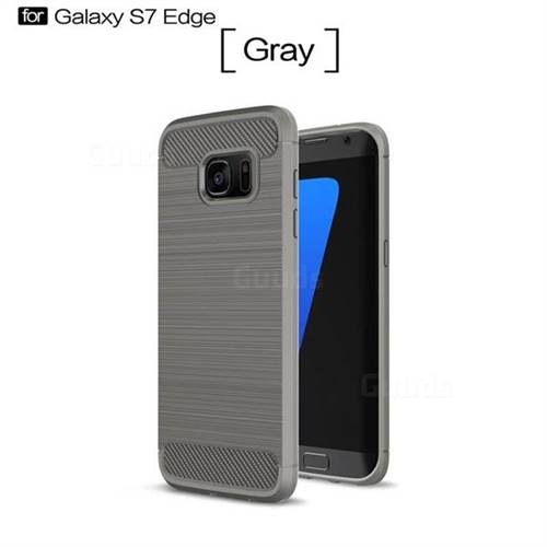 Luxury Carbon Fiber Brushed Wire Drawing Silicone TPU Back Cover for Samsung Galaxy S7 Edge s7edge (Gray)