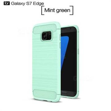 Luxury Carbon Fiber Brushed Wire Drawing Silicone TPU Back Cover for Samsung Galaxy S7 Edge s7edge (Mint Green)